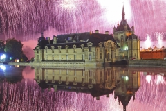 "France, Oise (60), Chantilly, le château lors du spectacle pyrotechnique ""les nuits de feu"" // France, Oise, Chantilly, the castle during the pyrotechnic show 'les nuits de feu"""