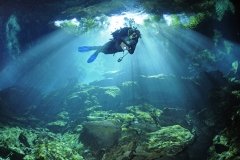 Mexique, état du Quintana Roo, le cenote (grotte inondée) de Chac Mool // Mexico, state of Quintana Roo, the cenote (flooded cave) of Chac Mool